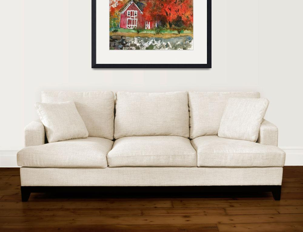 """""""Red Barn in Autumn Watercolor Painting""""  (2014) by schulmanart"""