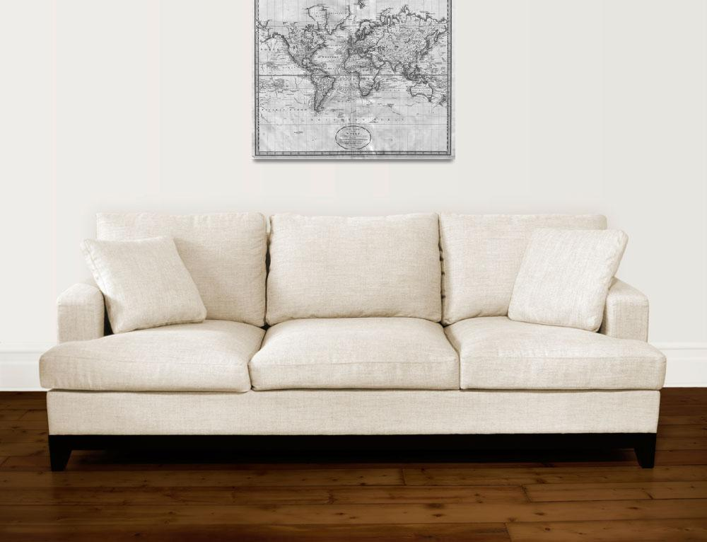 """""""Black and White World Map (1801)&quot  by Alleycatshirts"""