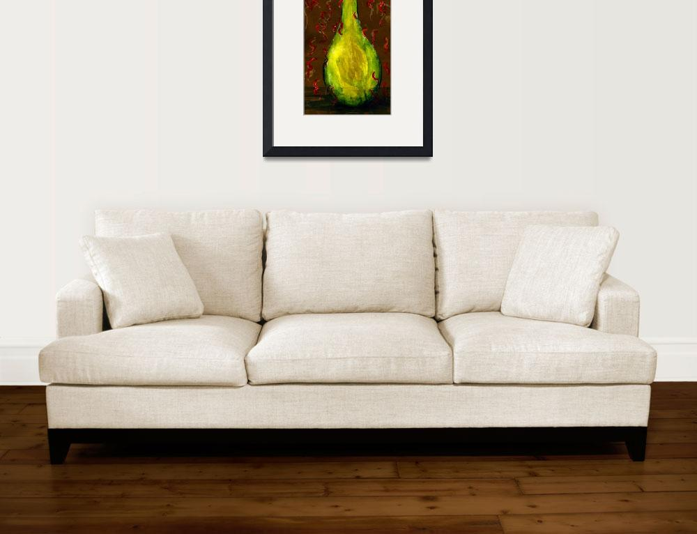 """""""Yellow-Green Bottle Painted on Paper Sack&quot  (2006) by Lenora"""