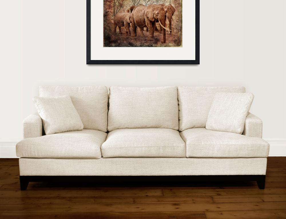 """""""Elephant family on a walk&quot  (2017) by SmartArtPlace"""