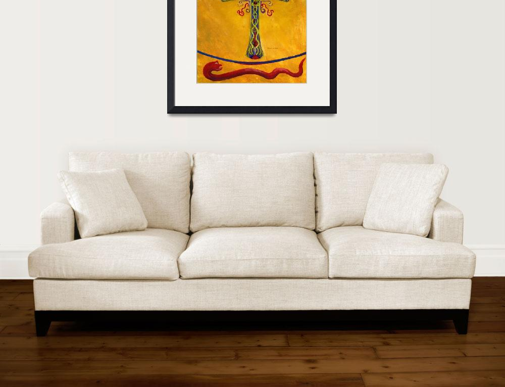 """""""Cross in Gold with Red, Green, Blue, Purple--Medie""""  (2010) by Lenora"""