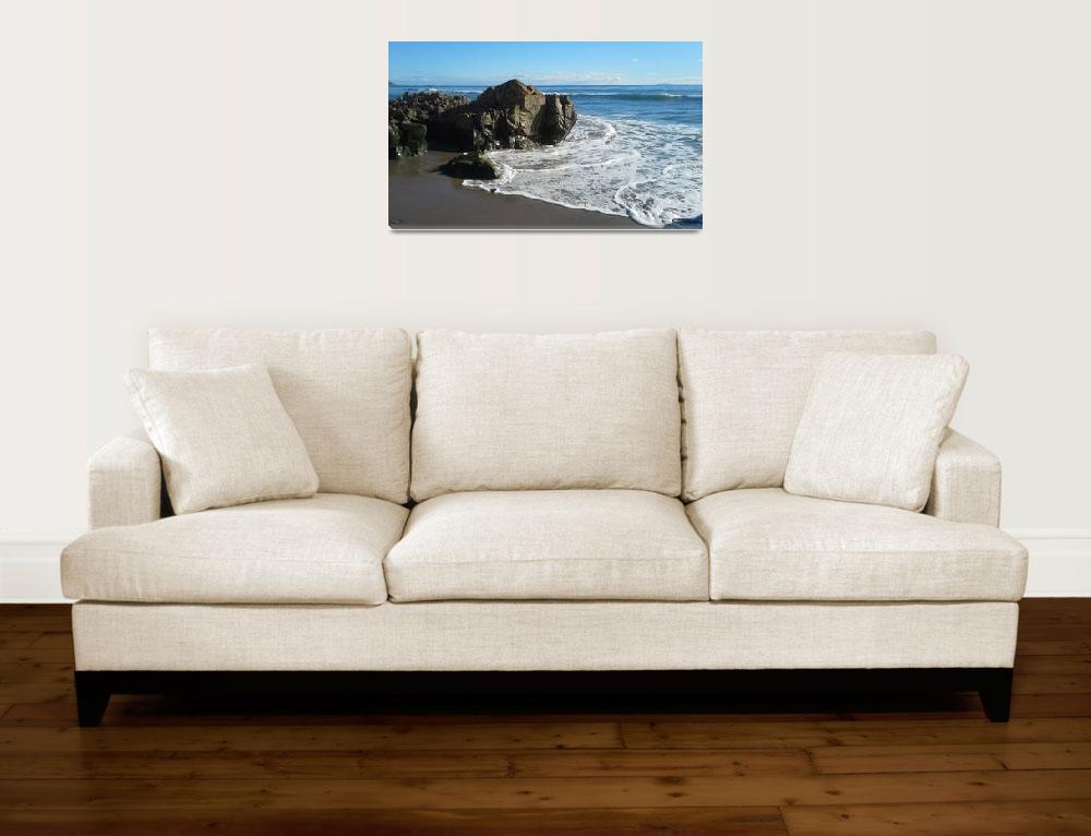 """Beach Stone and Blue Sea""  (2015) by AnitaBarnard"