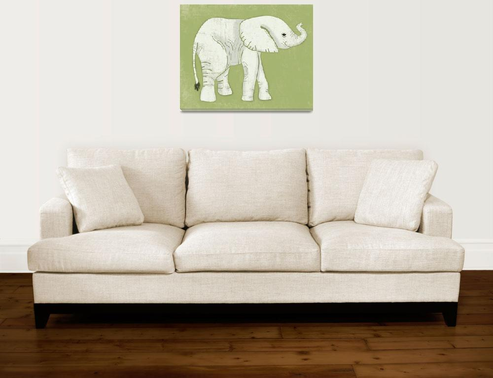 """""""Baby Elephant in Lime Green""""  by Littlepig"""