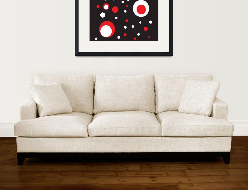"""Red and White Retro Circle&quot  (2011) by ValeriesGallery"