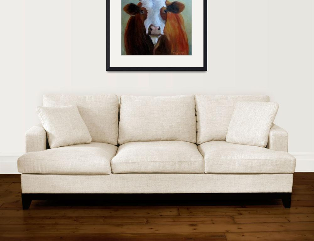 """Daffodil Cow Painting&quot  (2012) by CheriWollenbergArt"