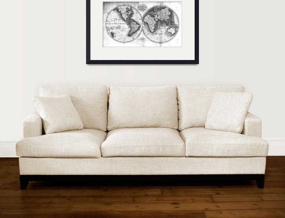 """Black and White World Map (1795) 2&quot  by Alleycatshirts"