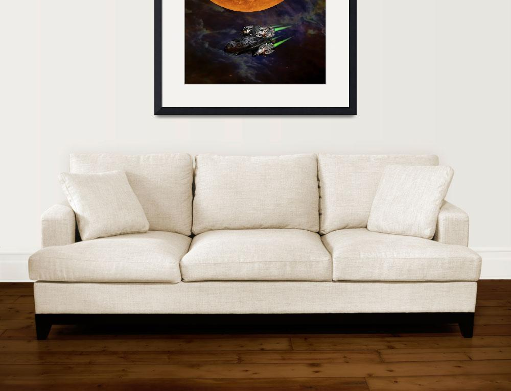 """Science Fiction Space Ship and Moon&quot  (2014) by MarilynsArt"