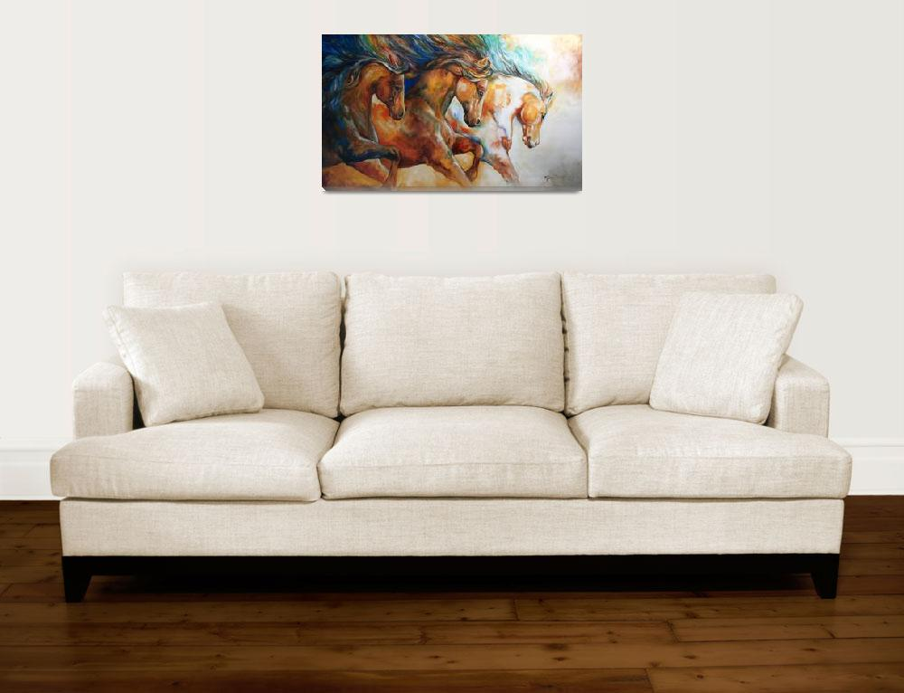 """WILD TRIO RUN MUSTANGS""  (2013) by MBaldwinFineArt2006"