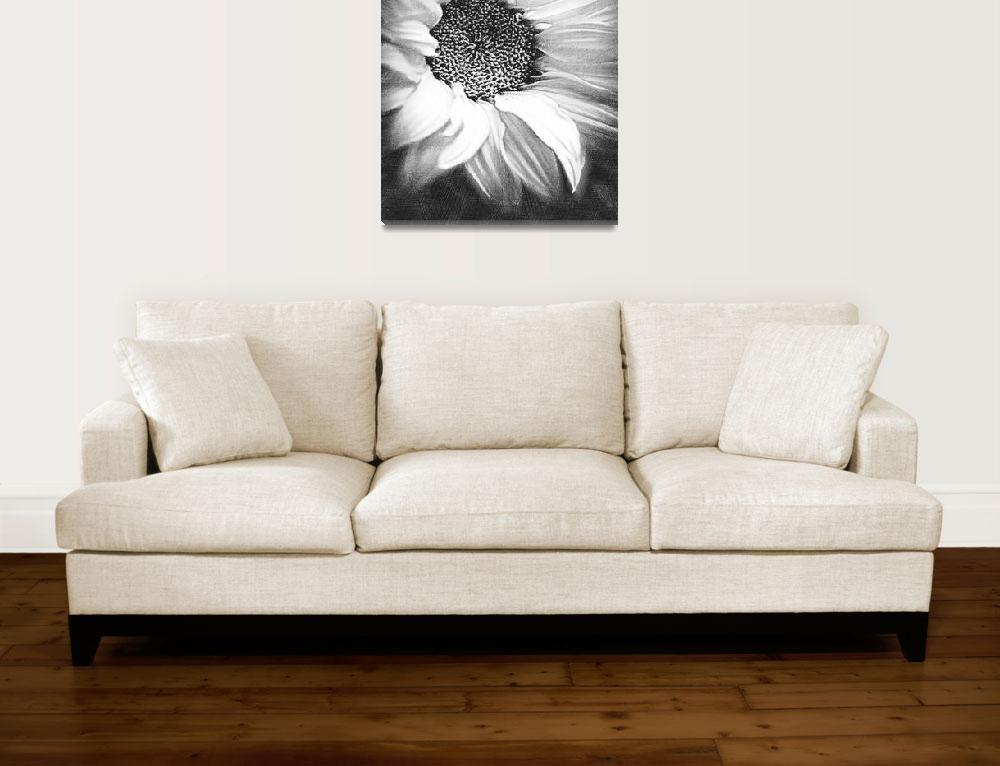 """""""Sunflower White And Black&quot  by RubinoFineArt"""