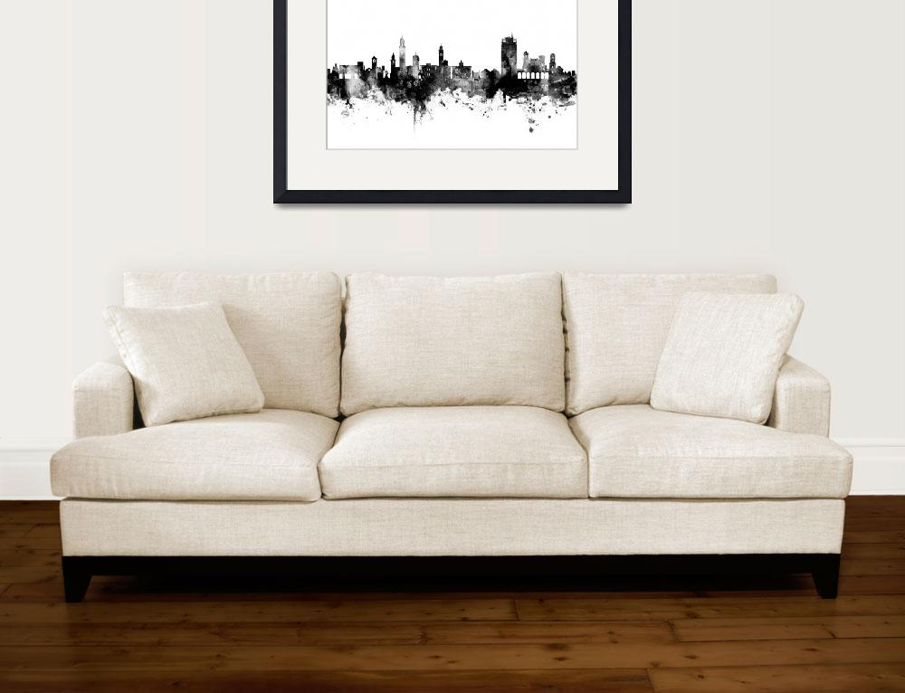"""Lugano Switzerland Skyline&quot  (2017) by ModernArtPrints"