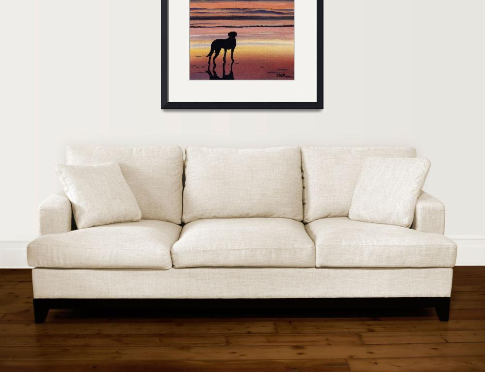 """Black Lab Sunset&quot  (2015) by k9artgallery"