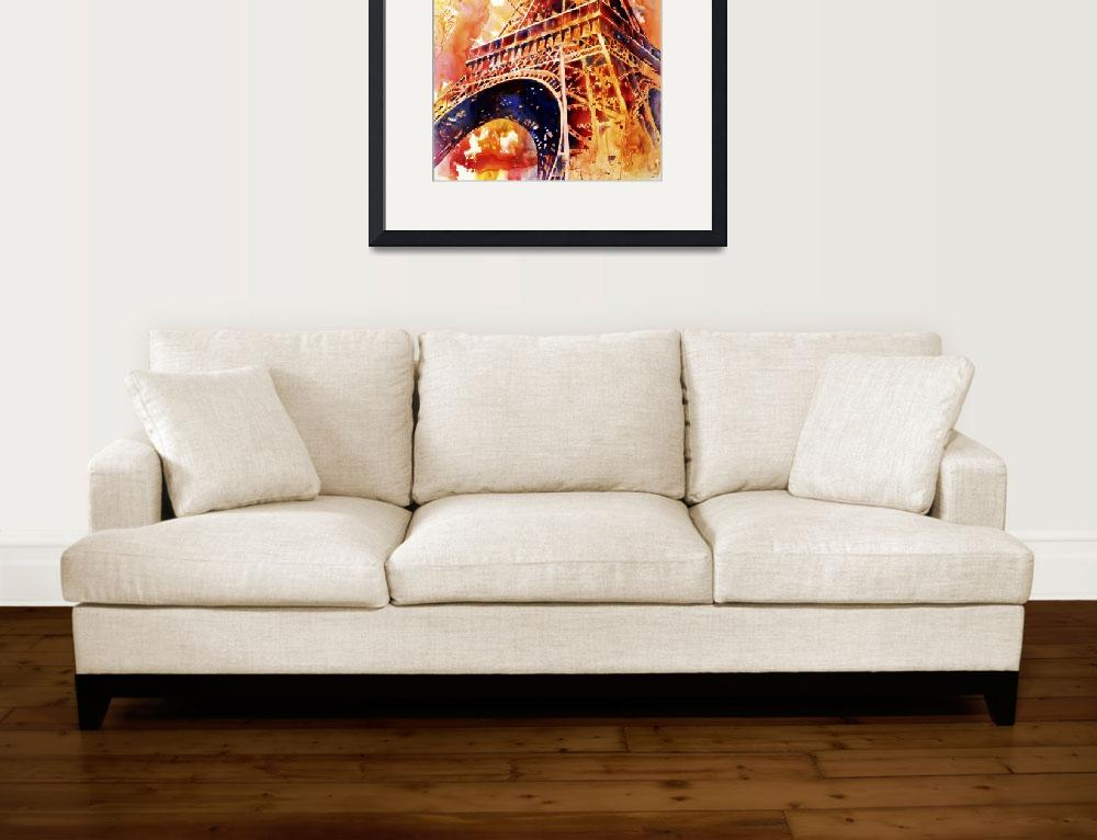 """""""Watercolor painting of Eiffel Tower at sunset- Par&quot  (2015) by RFoxWatercolors"""