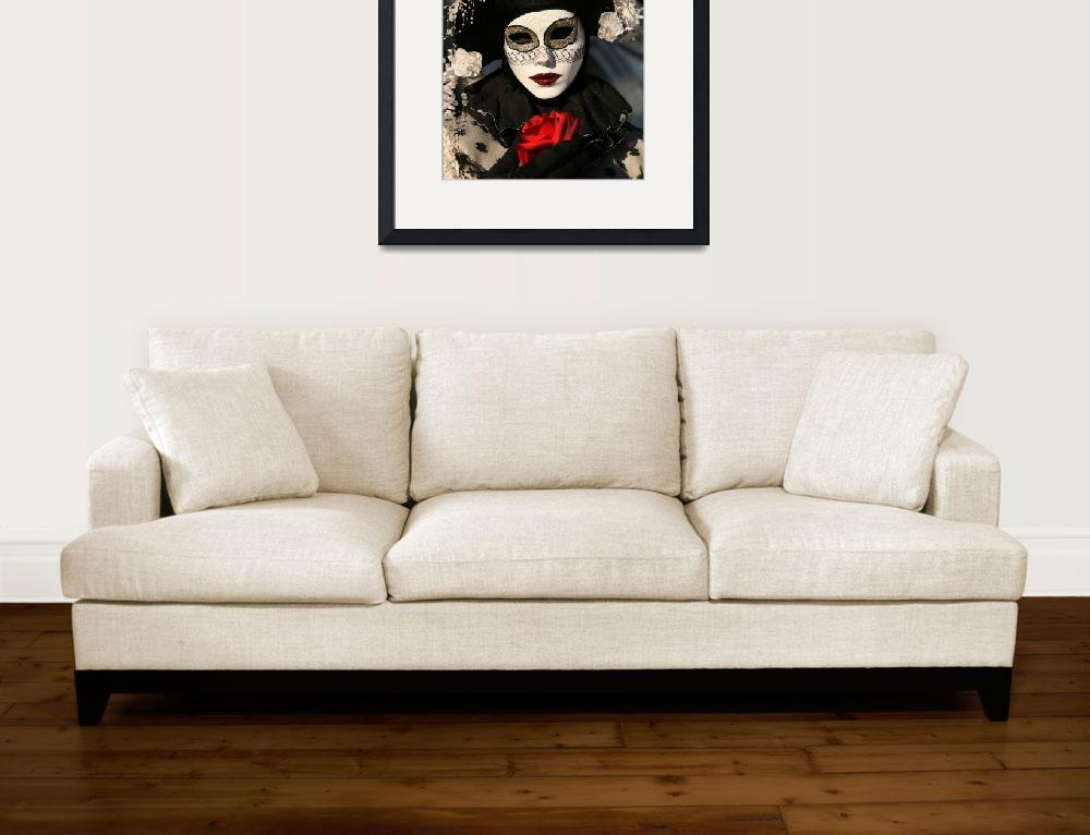 """""""Black and White Clown With Red Rose&quot  by DonnaCorless"""