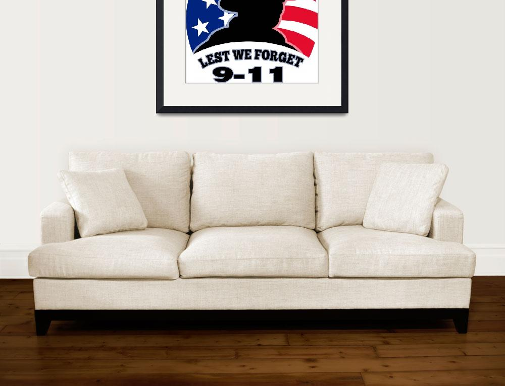 """9-11 fireman firefighter american flag&quot  (2013) by patrimonio"