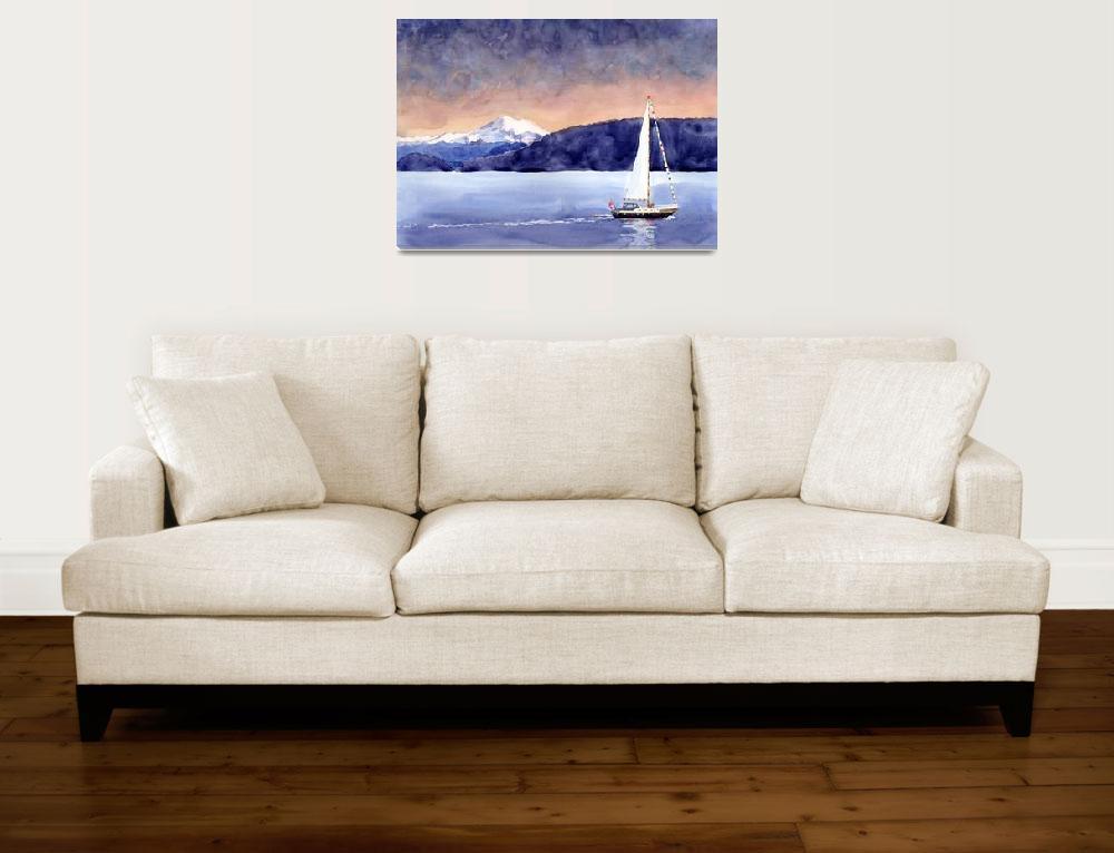 """Sailboat & Mt Baker""  (2005) by studiobythesound"