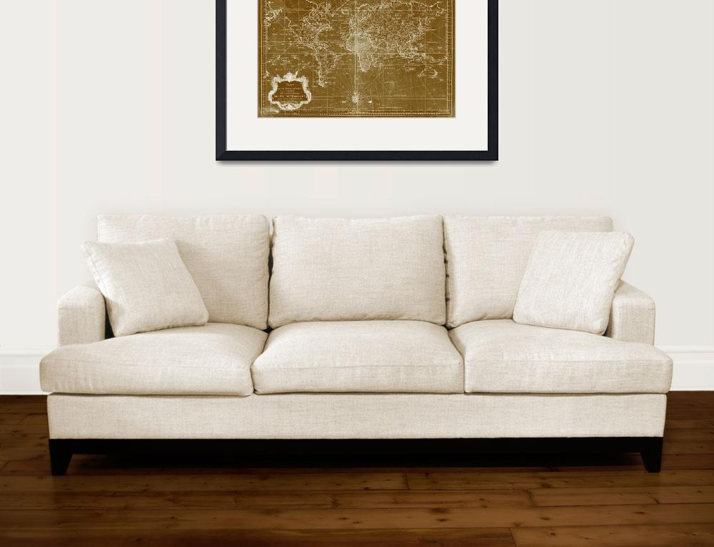 """""""World Map (1778) Light Brown & White&quot  by Alleycatshirts"""