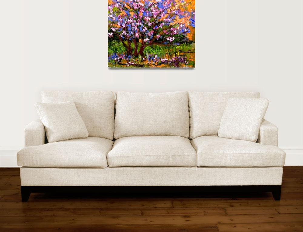 """Pink BlossomTree Oil Painting&quot  (2005) by GinetteCallaway"
