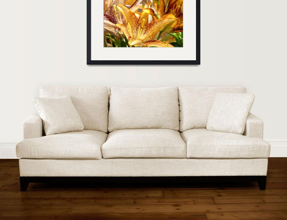 """OFFICE ART Golden Glowing Lilies Lily Flowers&quot  (2009) by BasleeTroutman"