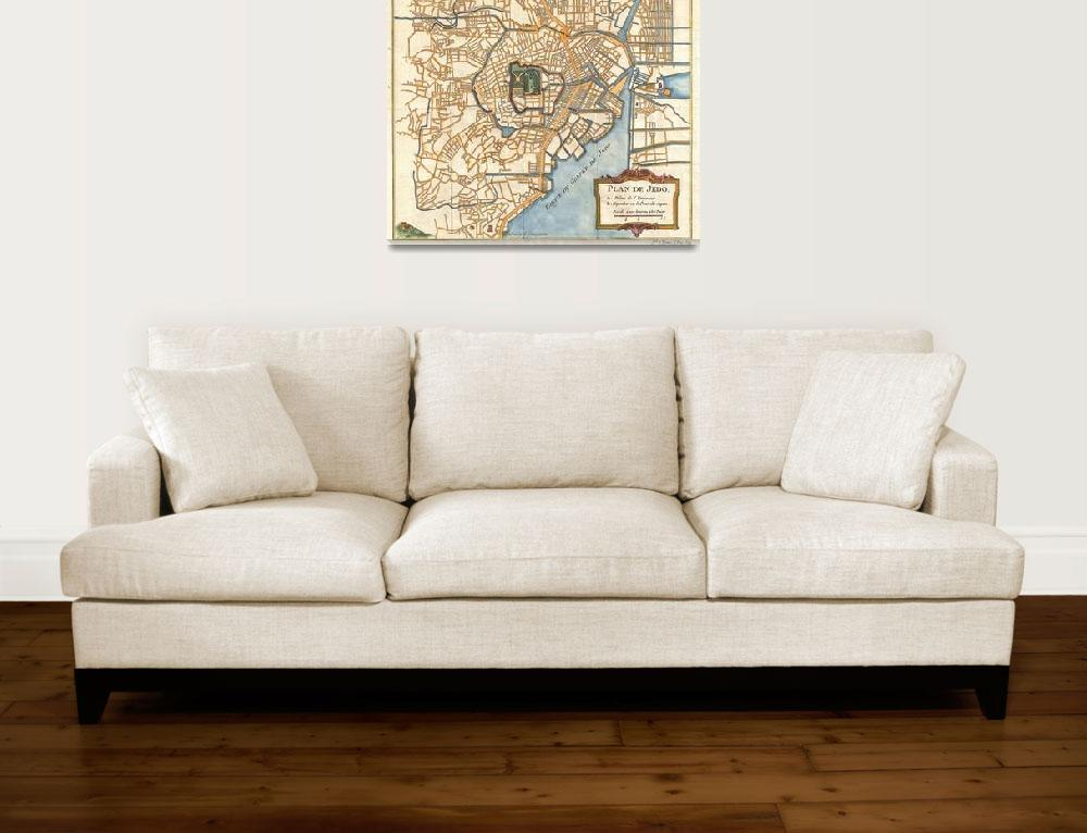 """Vintage Map of Tokyo Japan (1752)&quot  by Alleycatshirts"