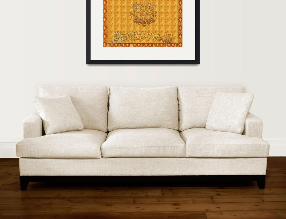 """Aztec Movement Mexican Traditional Art&quot  (2011) by ReneeLozenGraphics"