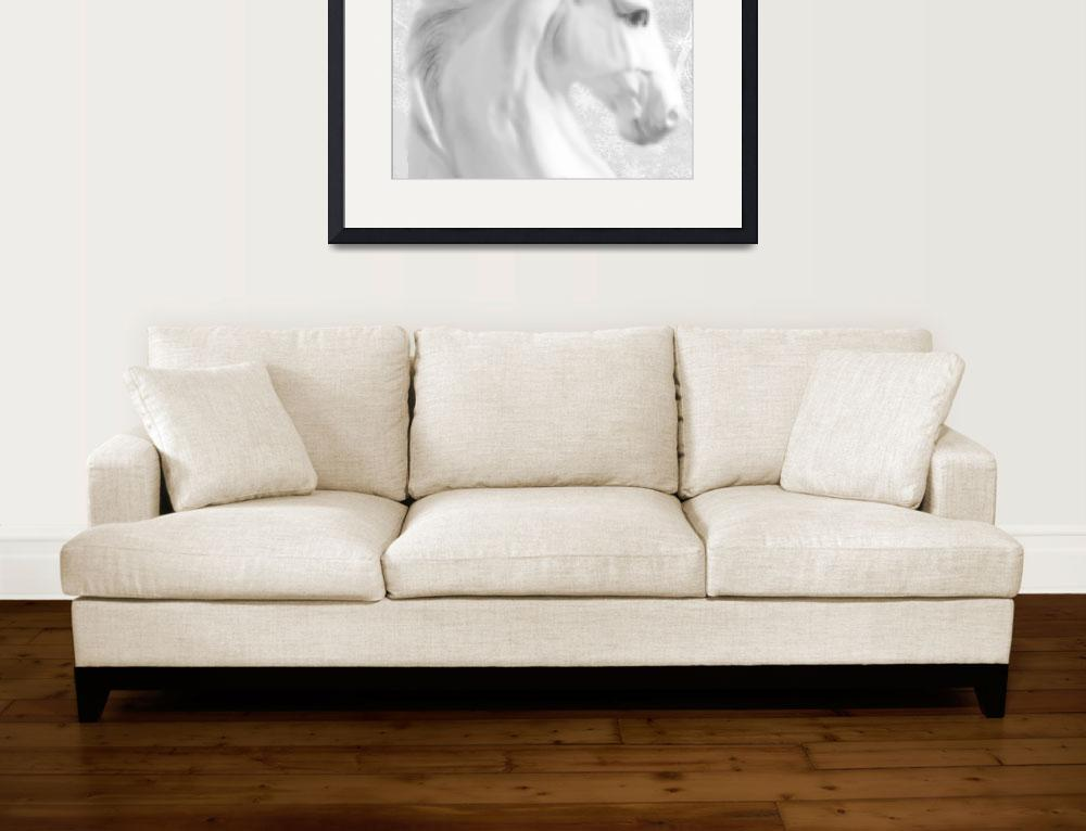 """""""White Winter Horse 1&quot  (2013) by RubinoFineArt"""