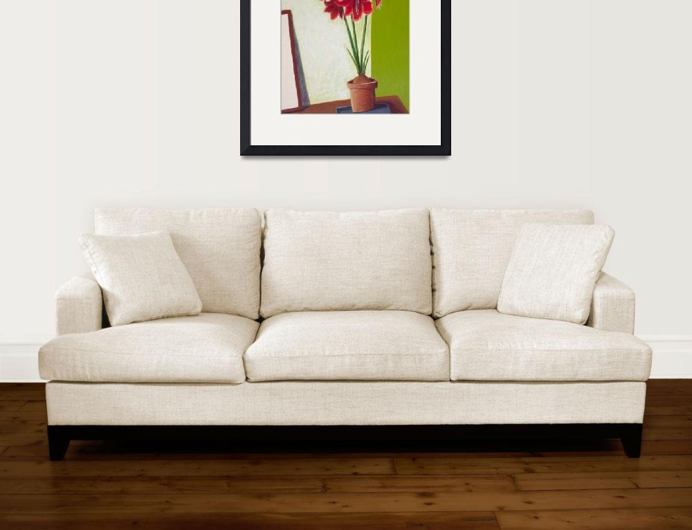 """""""Floral: Red Amaryllis on Green&quot  (2002) by pfleghaar"""
