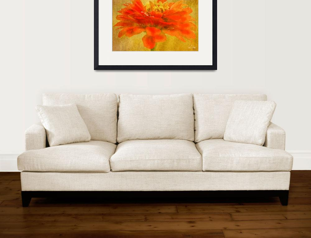 """Zinnia Red Orange Color Floral Wall Art&quot  (2013) by PhotographsByCarolFAustin"