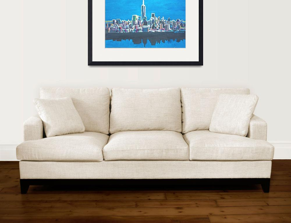 """""""Neon Skyline of New York City Manhattan with One W&quot  (2014) by arthop77"""