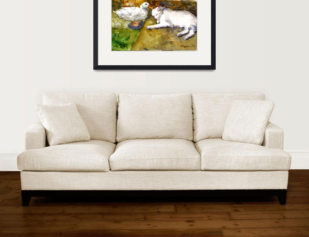 """""""An Unexpected Friendship, White Cat Duck Watercolo&quot  (2008) by schulmanart"""