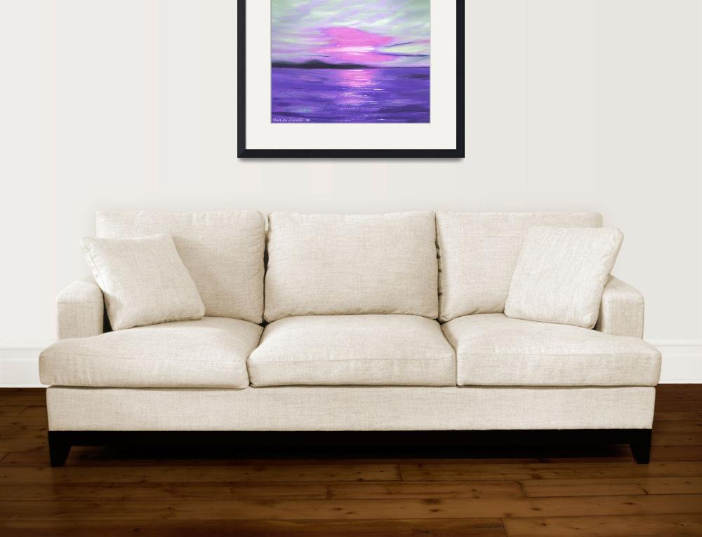 """Green Skies and Purple Seas Abstract Sunset&quot  (2009) by GinaDeGorna"