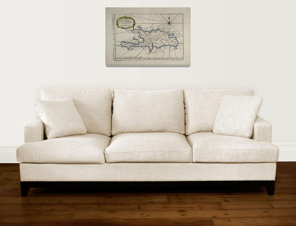 """Vintage Map of The Dominican Republic (1750)&quot  by Alleycatshirts"