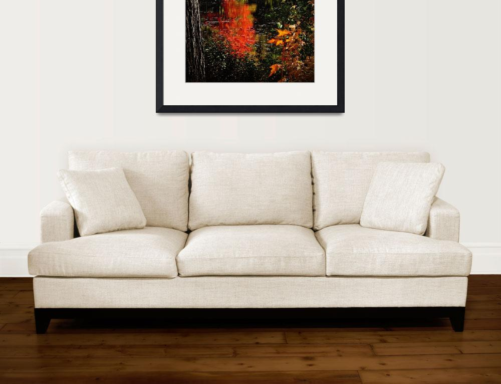 """""""Red Maple Tree Relection&quot  (2015) by bavosiphotoart"""