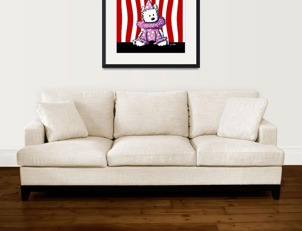 """""""Circus Clown Westie In Pink&quot  (2006) by KiniArt"""