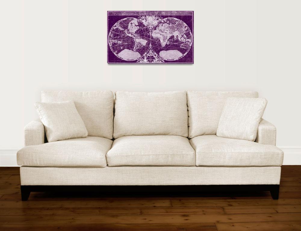 """""""World Map (1691) Dark Purple & White&quot  by Alleycatshirts"""