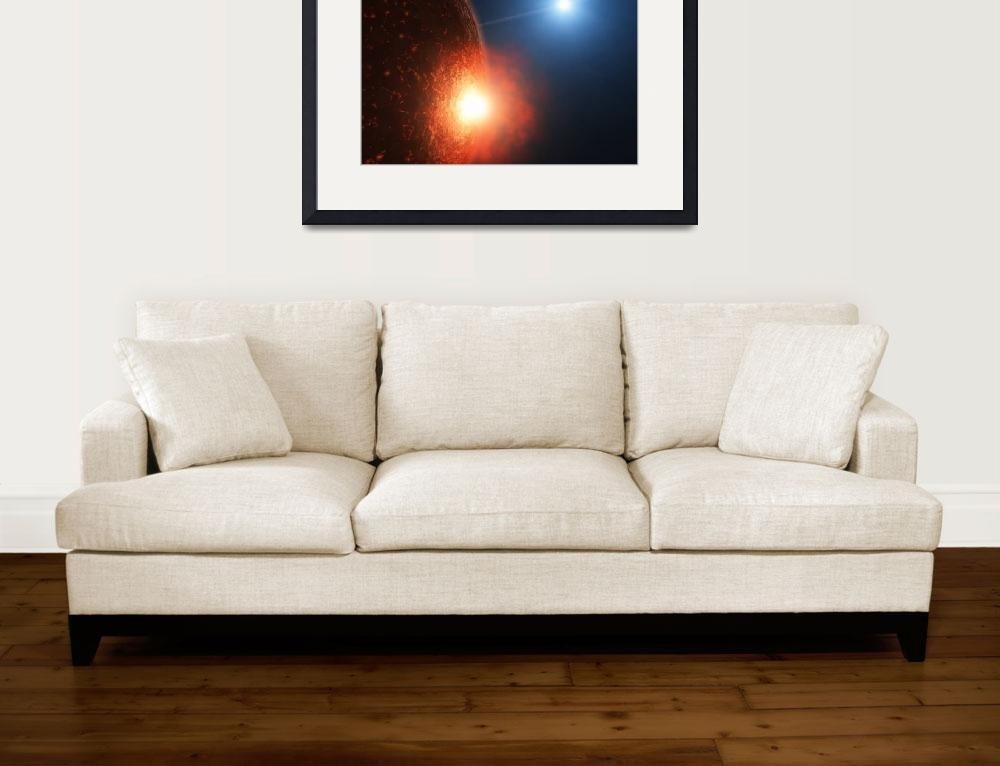 """""""A planetesimal collides with a small semi molten p""""  by stocktrekimages"""