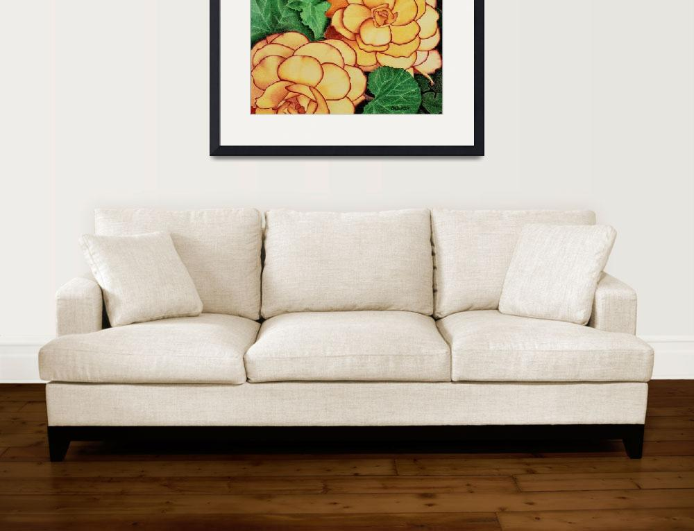 """""""Yellow Begonias&quot  (2015) by sharonpattersonsart"""