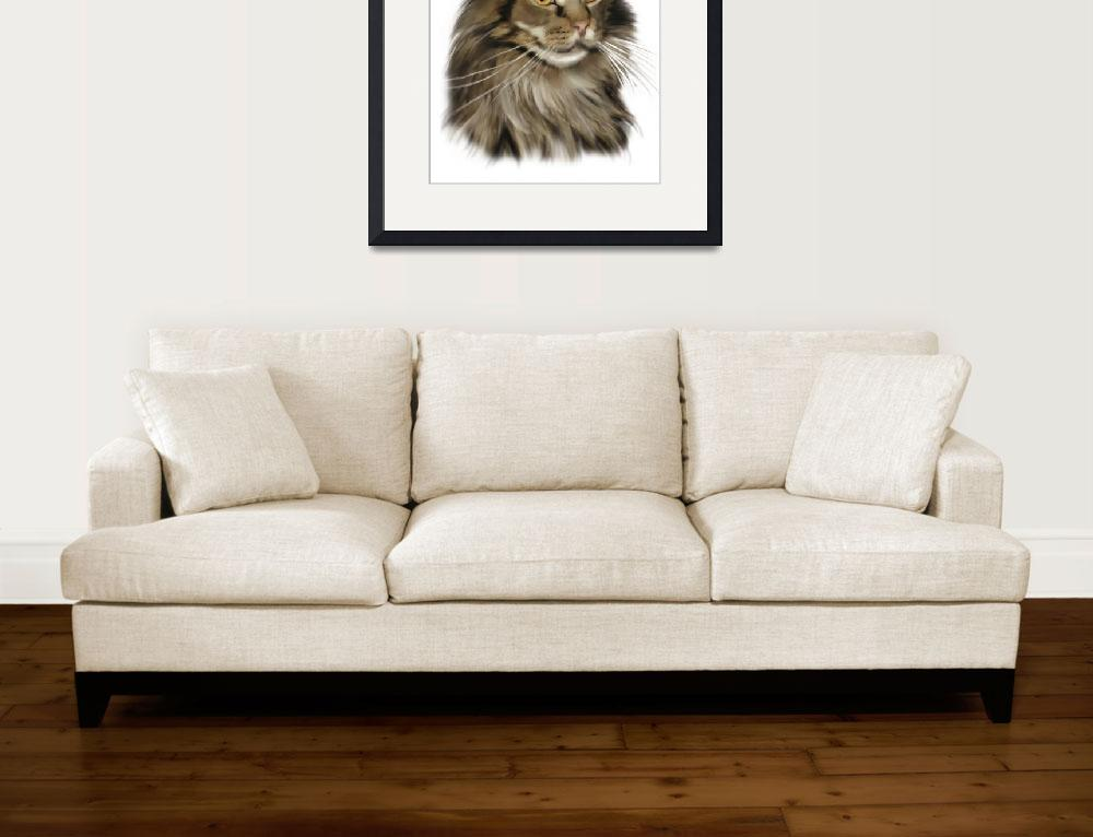 """""""Black Tabby Maine Coon Cat""""  by mainecooncats"""