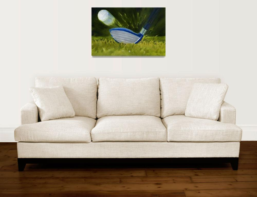 """Closeup of Fairway Wood Hitting Golf Ball Print&quot  (2007) by KeatingArt"