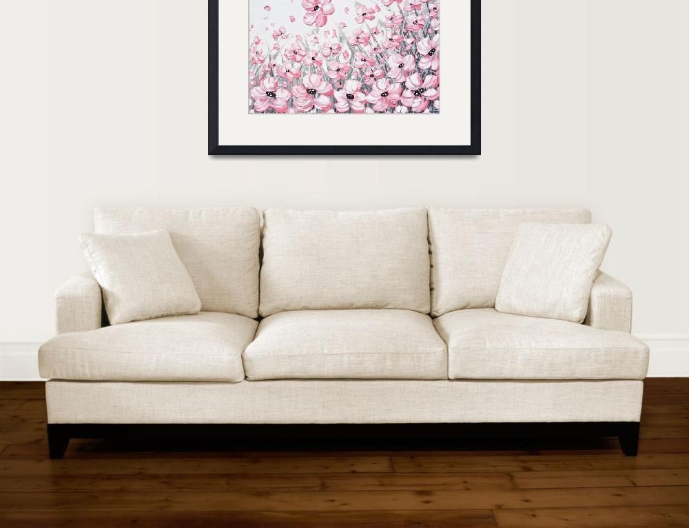 """""""""""Enchantment"""" Abstract Pink White Flowers""""  (2017) by ChristineBell"""