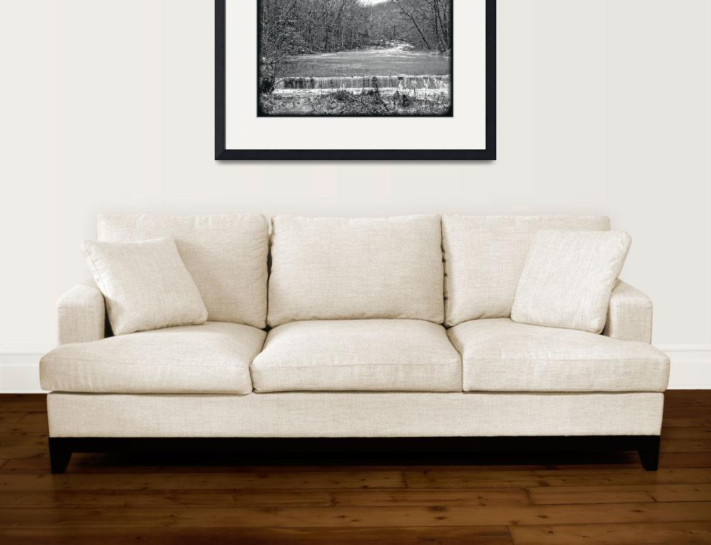 """""""LAndscape ini Black and White - Winter Creek&quot  (2017) by MotherNature1"""