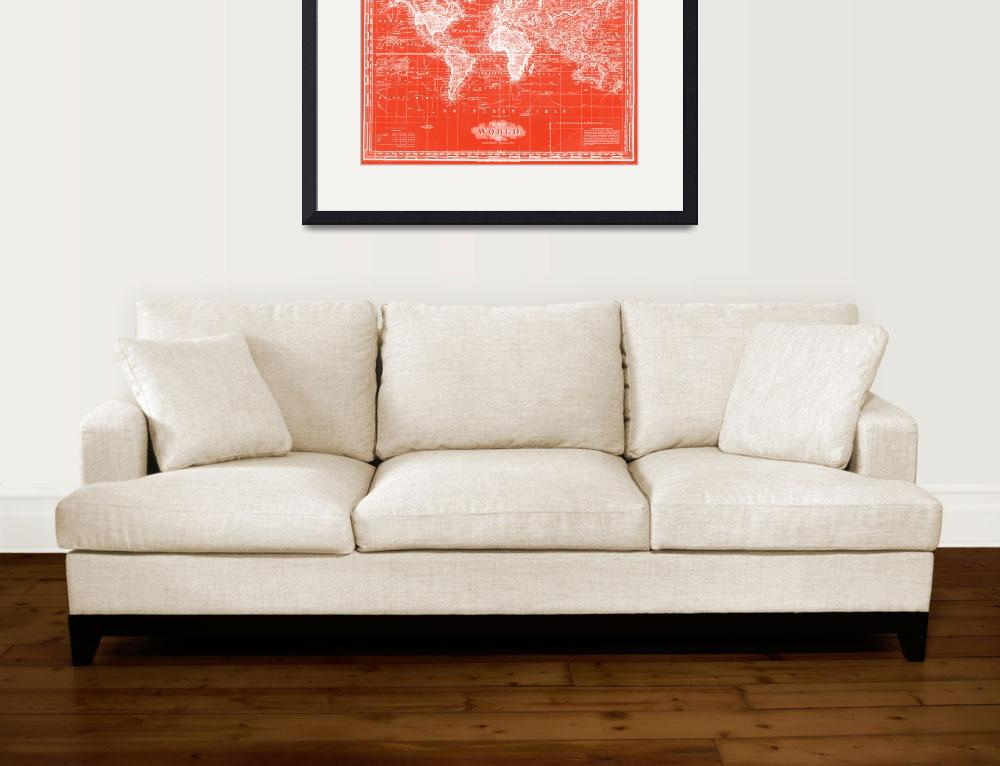"""""""Vintage Map of The World (1833) Red & White&quot  by Alleycatshirts"""