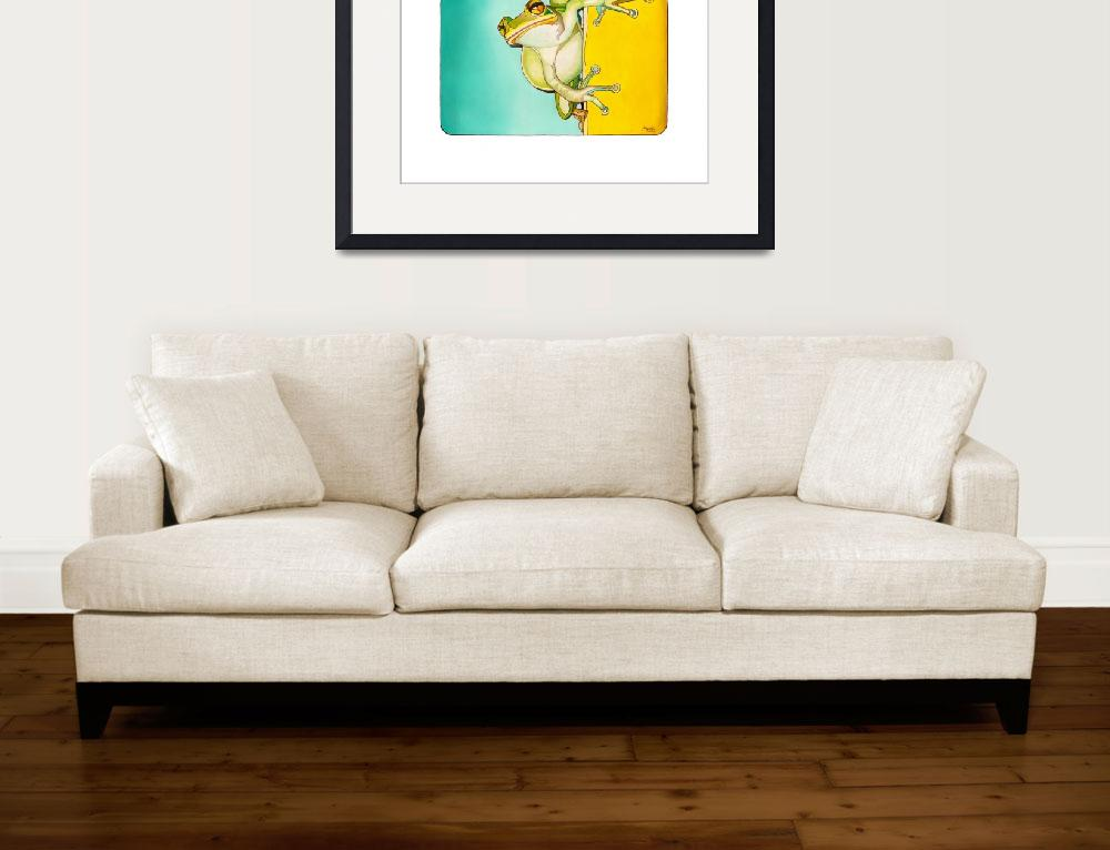 """Frog on a yellow wall&quot  (2010) by ArtbyRobertMahosky"