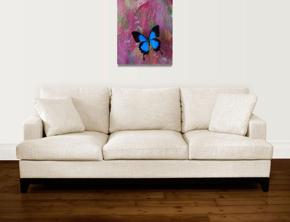 """""""Blue butterfly on colorful wooden wall""""  (2012) by photogarry"""