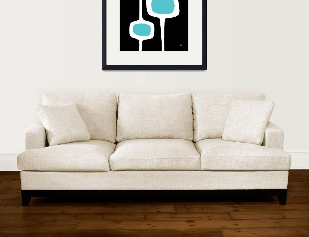 """""""Mod Pod Three White on Black with Turquoise&quot  (2013) by DMibus"""