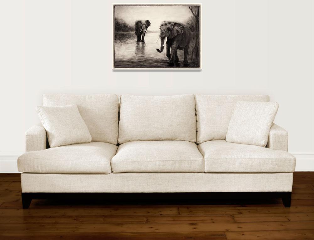 """African Elephants at Sunset""  by shernasser"