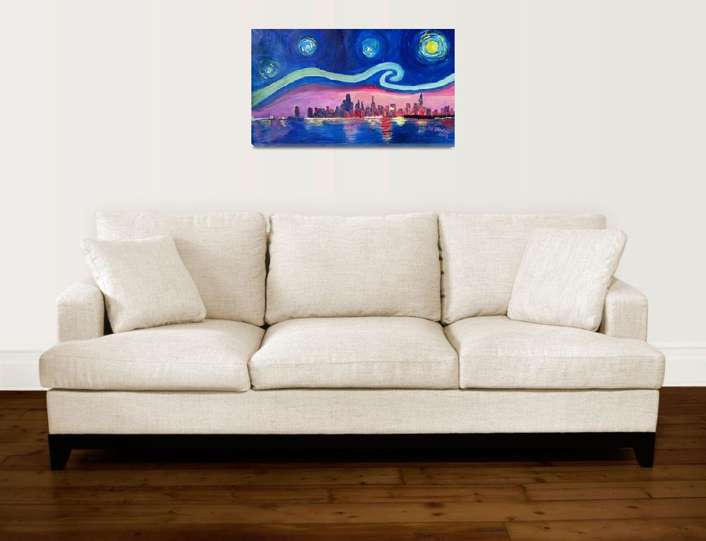 """Starry Night in Chicago Illinois with Lake Michiga&quot  (2016) by arthop77"