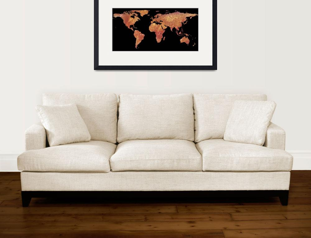"""""""World Map Silhouette - Crispy Bacon&quot  by Alleycatshirts"""