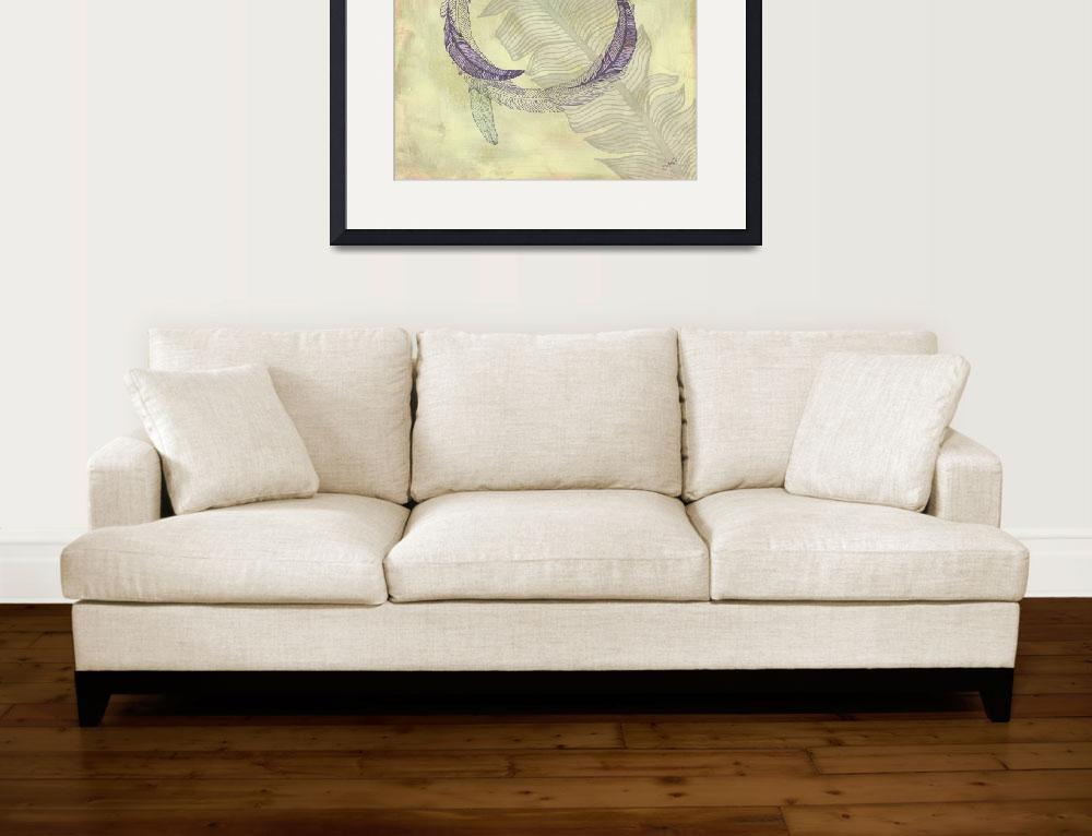 """""""Zen Feather Circle III&quot  by WrightFineArt"""