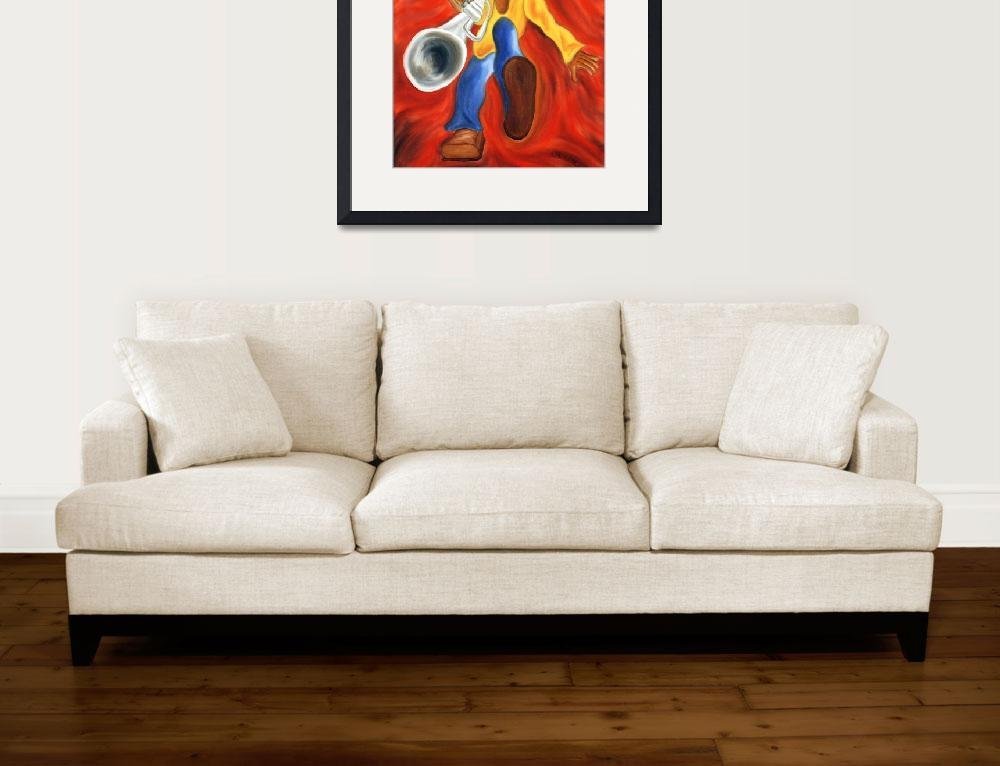 """""""Boogie Fever, Whimsical Trumpet Player Art&quot  by jmathernestudio"""