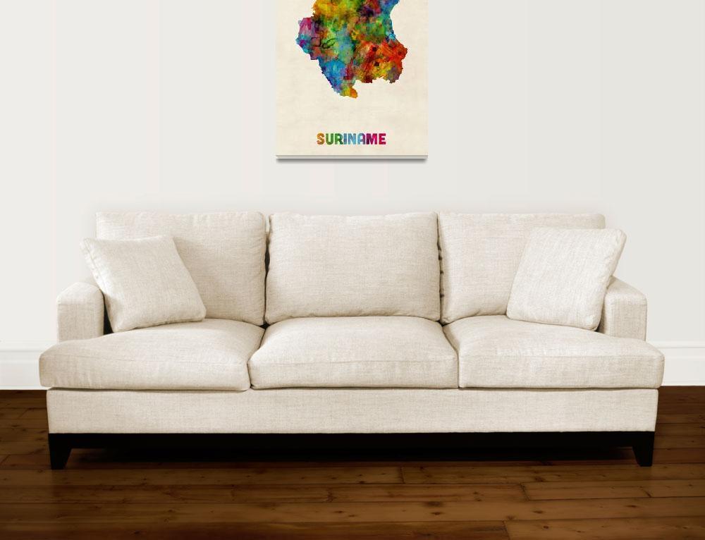 """Suriname Watercolor Map&quot  (2014) by ModernArtPrints"